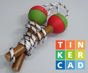 孩子跳绳与木手柄和3d印刷的球