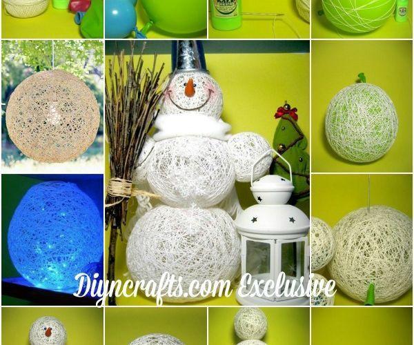 Cute DIY Cotton Thread Snowman