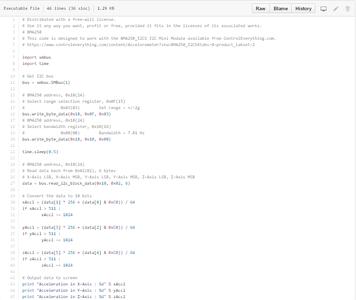 Python Code for Acceleration Measurement: