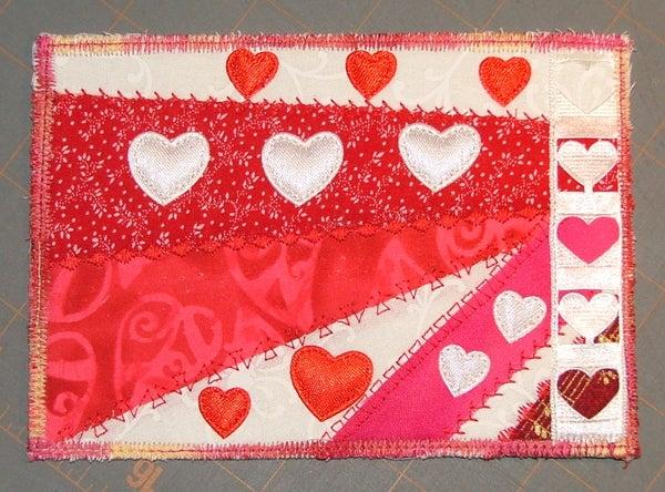 Valentine's Day Fabric Postcard