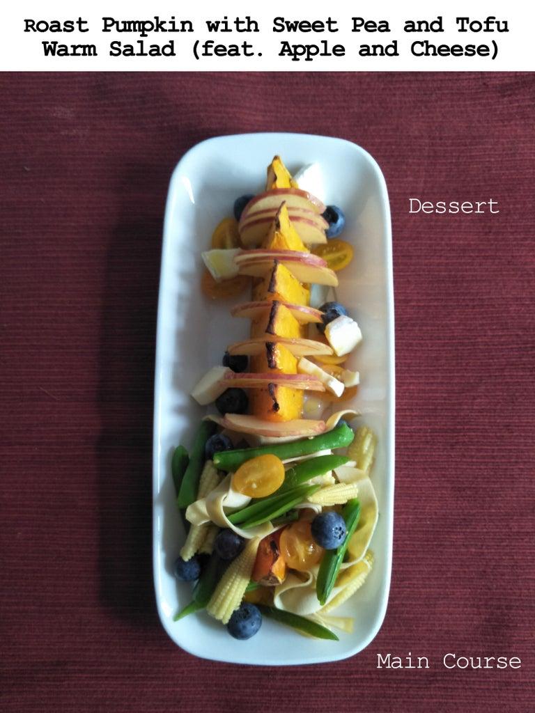 Bonus Recipe: Roast Pumpkin With Sweet Pea and Tofu Stripes Warm Salad (feat. Apple and Cheese)