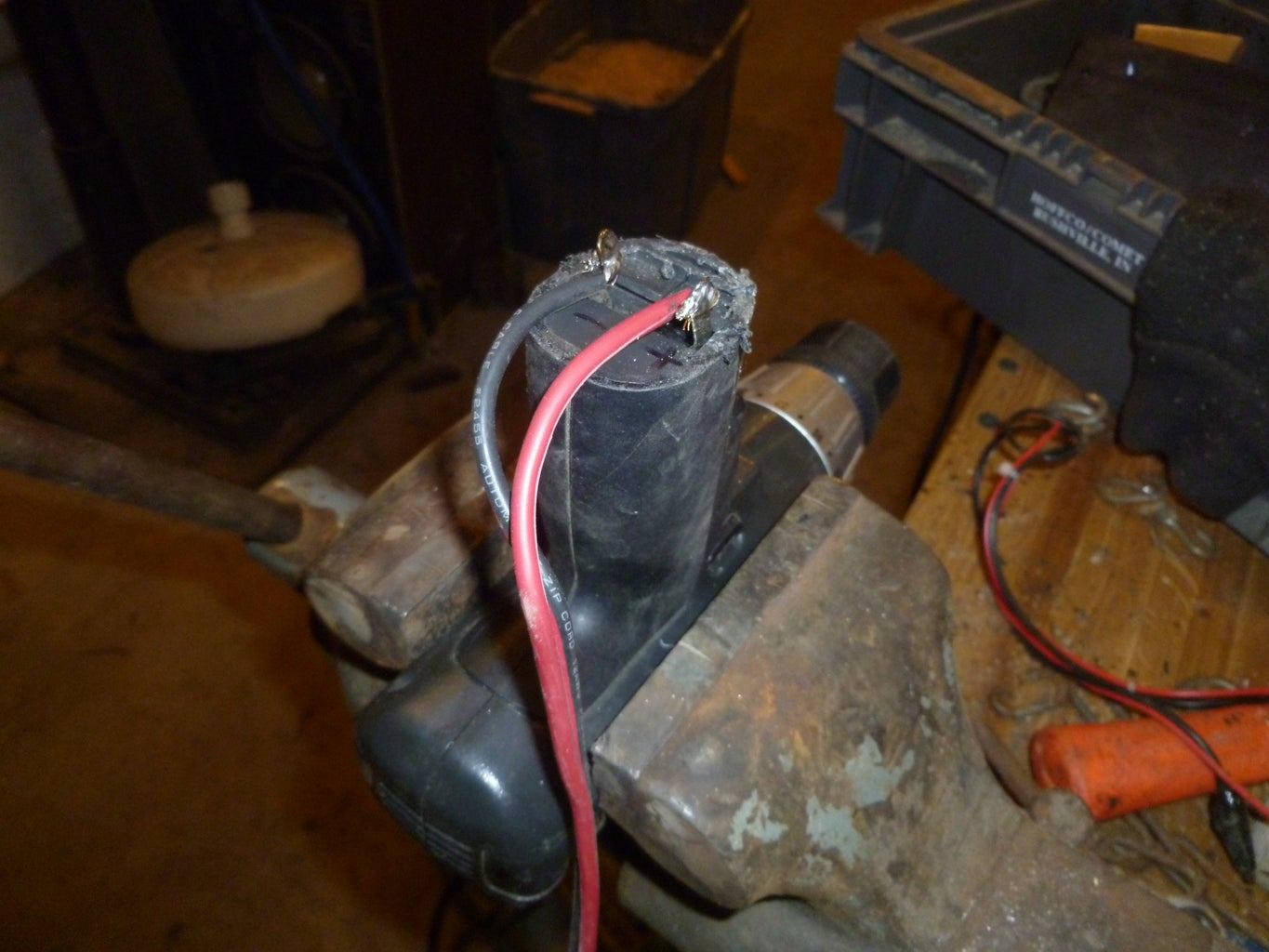 Solder the Red Wire to the + Terminal on the Drill and the Black to the - Terminal