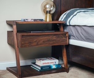 Modern Nightstand / Bedside Table With Cable Management System & Wireless Charging