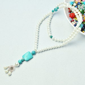 Pearl Necklace Design – How to Make a 2-Strand Pearl Andturquoise Beaded Necklace