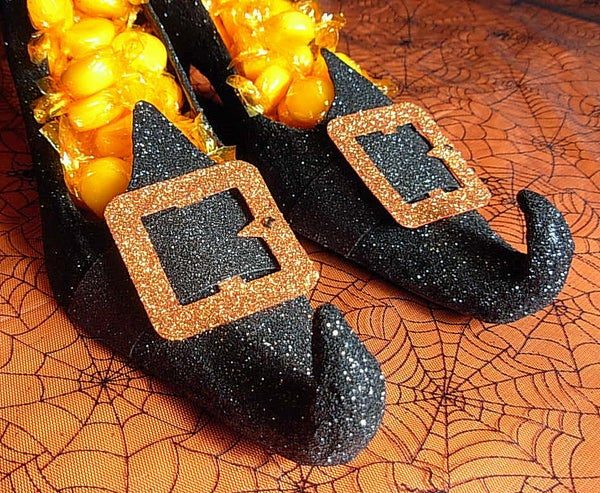 Glittered Witch Shoe Candy Dishes