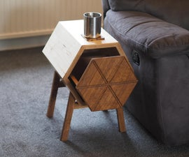 Hexagon Side Table With Drawer