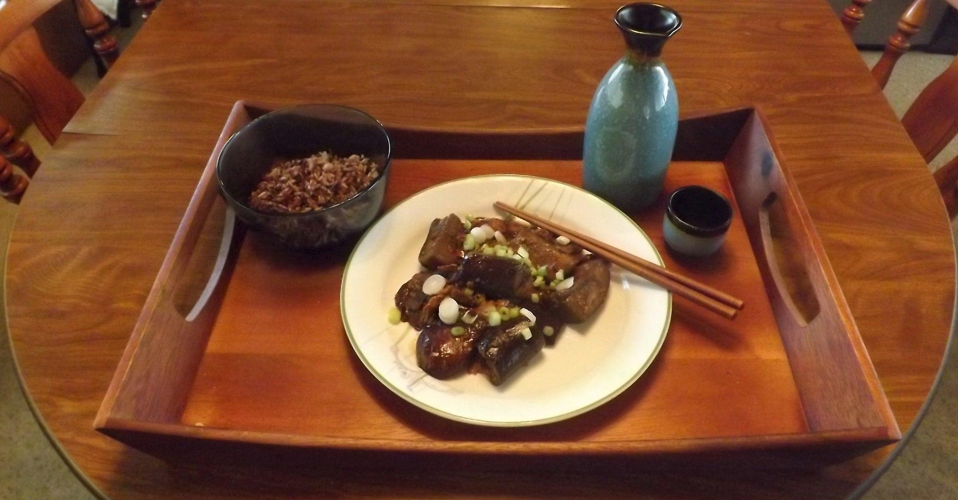 SPICY GARLIC EGGPLANT WITH SHIITAKE MUSHROOMS (Yǔ Xiānggū Yú Xiāng Qiézi)