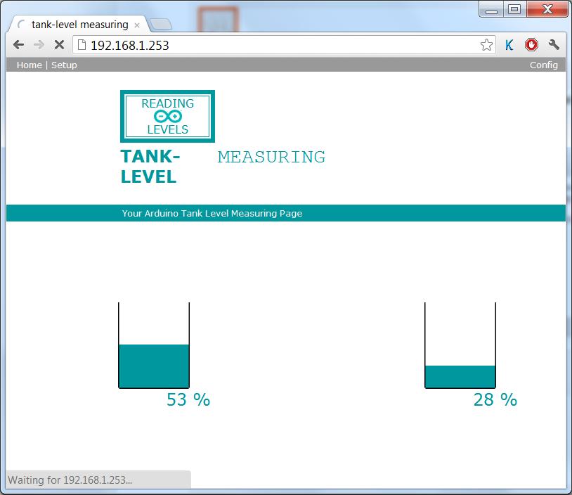 Arduino dual ultrasonic liquid level meter with integrated website