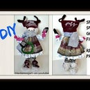 SPARKLY SNOW GIRL DOLL on Cardboard Base