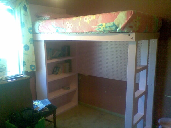 Loft Bed With Built in Bookshelf and Pegboard