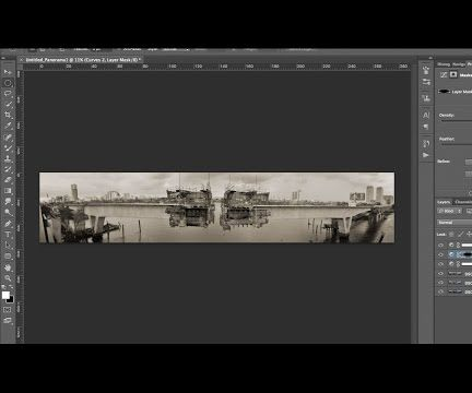 creating a panoramic black & white photography in photoshop/ photomerge in PS