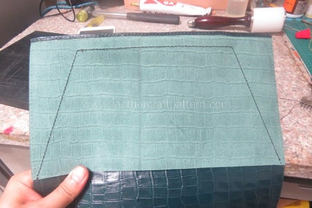 Sew Square Leather on Right Place, Look at the Picture, There Are Orienting Lines on Pattern to Help You Find the Right Place. Notice, I Fold the Edge to Have a Nice Looking.