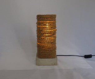 Concrete Base Rope Table Lamp