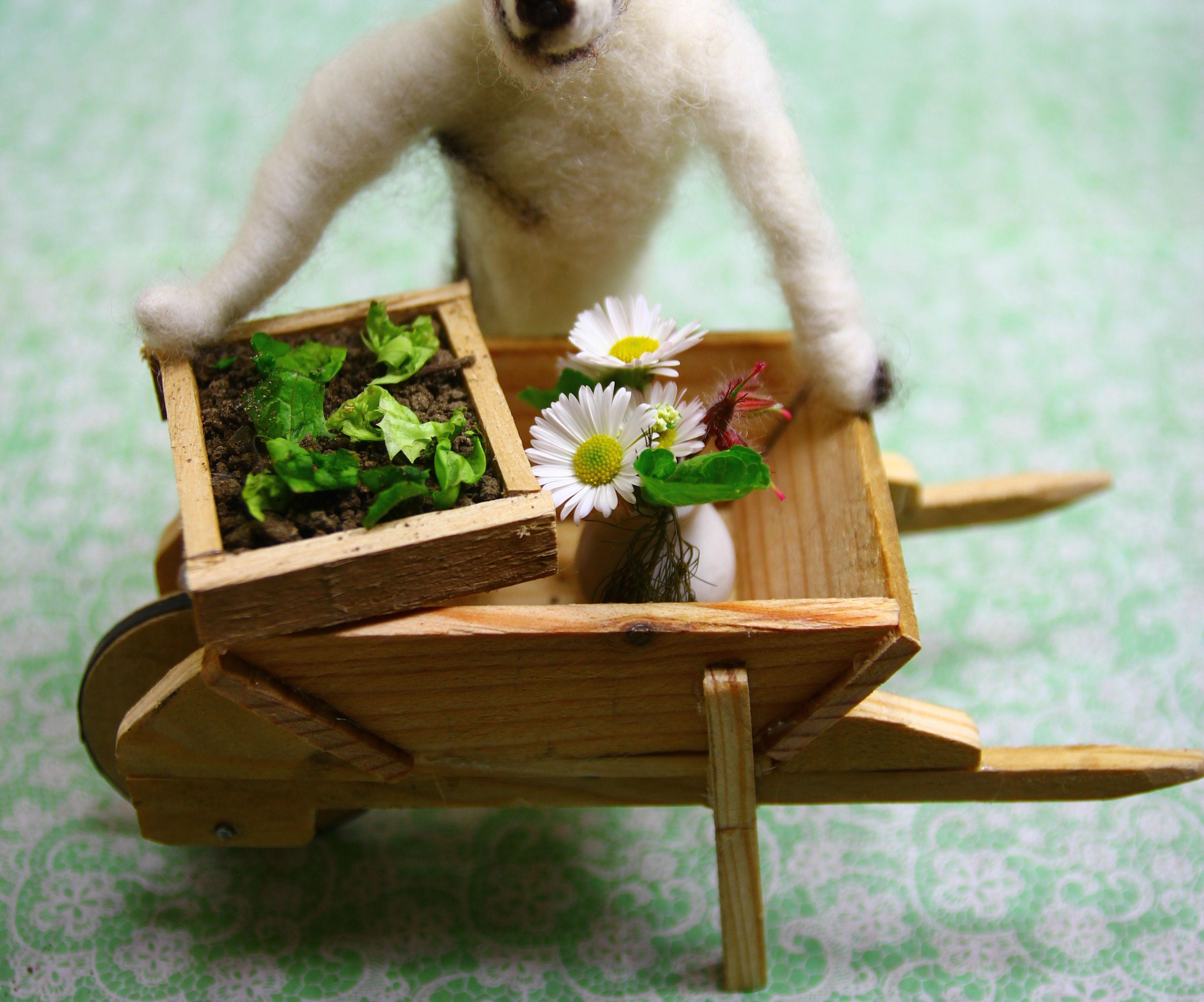 Tiny Wooden Wheelbarrow