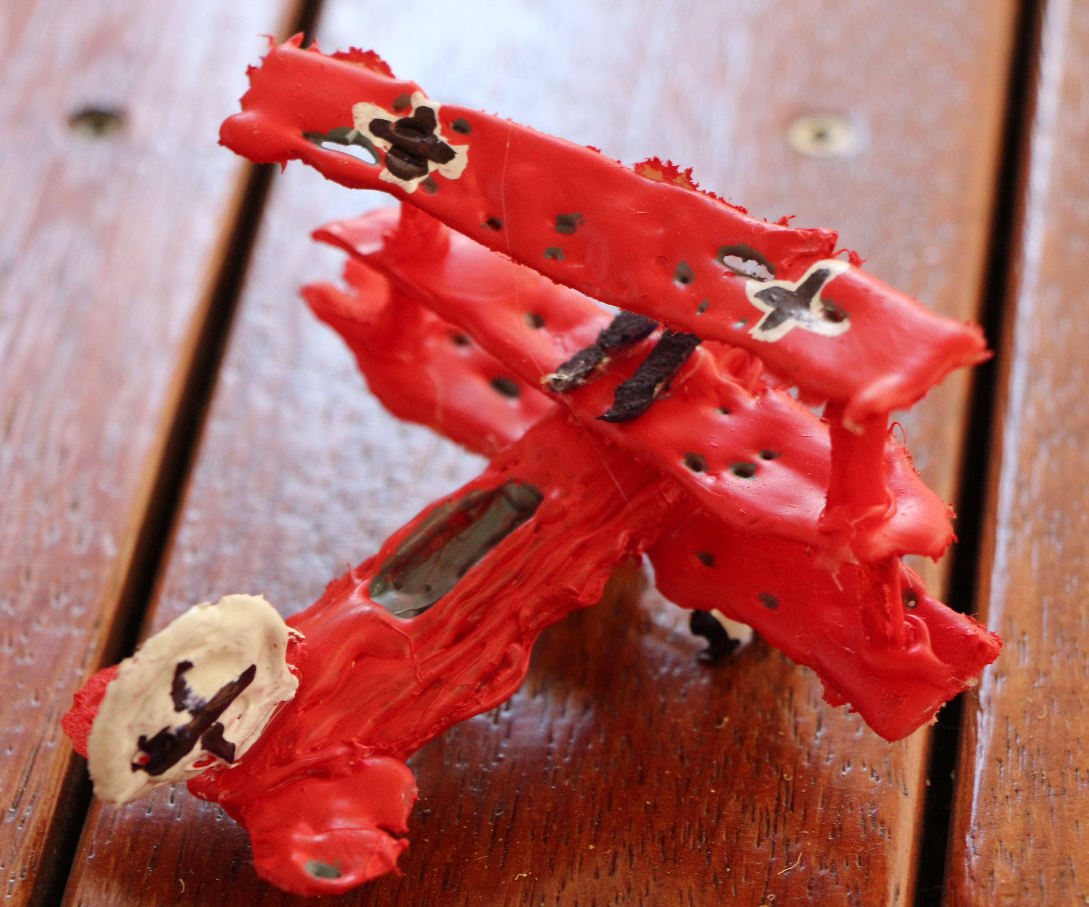 Red Barron 3D print with hot glue