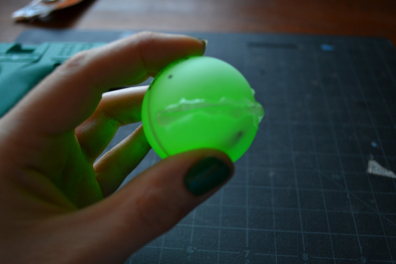 Glue the Ping Pong Ball Closed