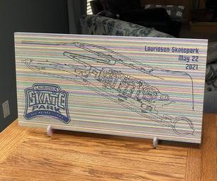 美国最大的美国滑板地图制成的滑板木材