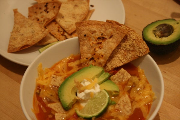 Tortilla Soup Two Ways (Vegetarian or Chicken)