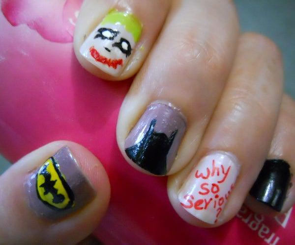 Batman and Joker Nail Art