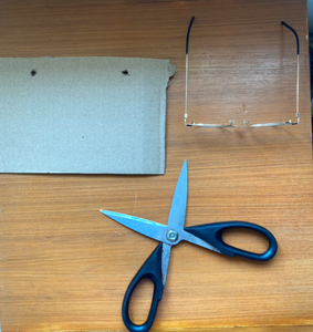Cut the Cardboard to Fit Tissue Box and Glasses