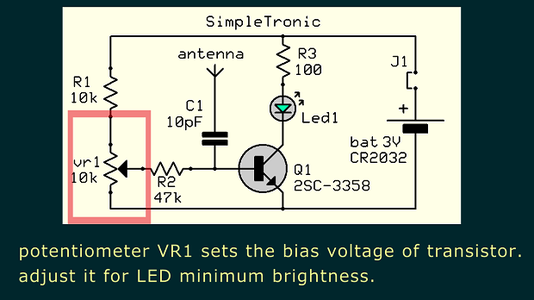Adjust VR1 for Minimum LED Brightness