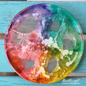 Rainbows Cast in Resin Coasters