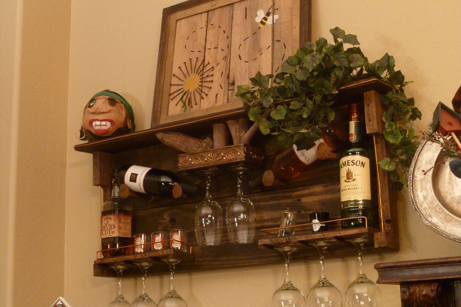 Pallet Wood Wine Rack and Liquor Shelf