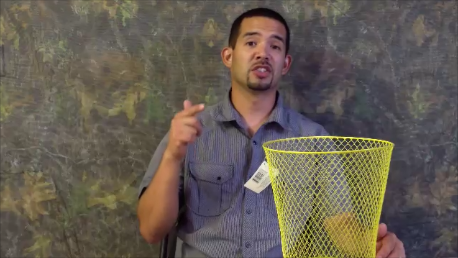 How to make a bait fish trap for around $2 using $1 wire waste baskets