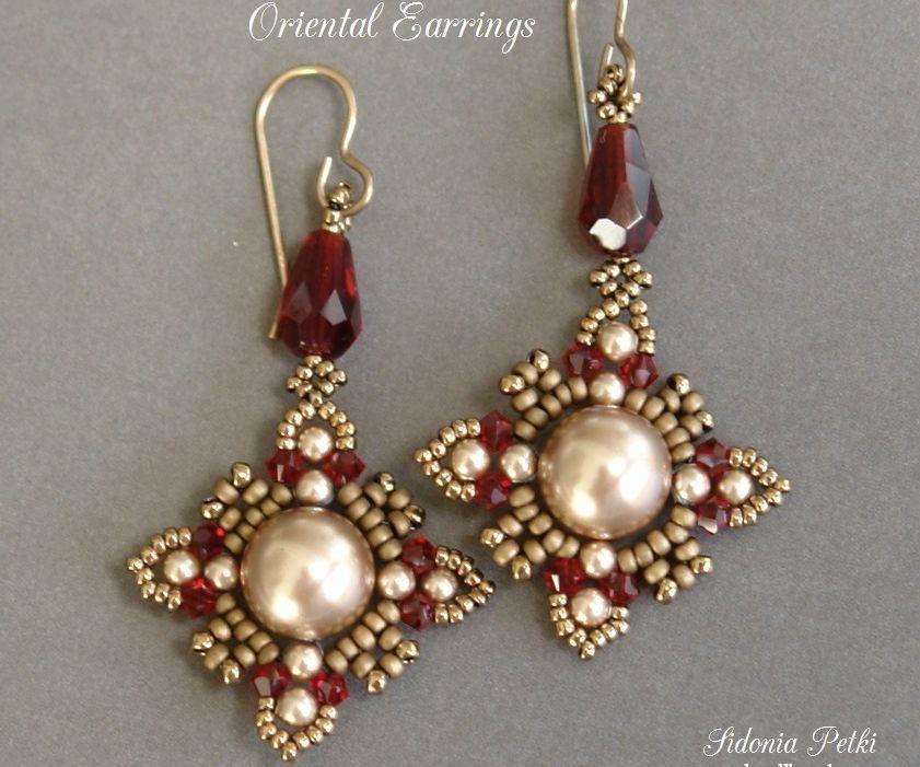 Beaded earrings - Oriental earrings - Beading and jewelry making tutorial