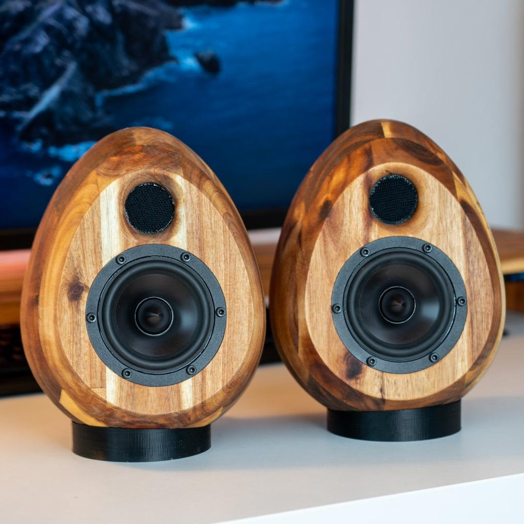 CNC-machined Wooden Egg Speakers