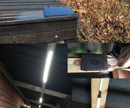 Solar and Battery Powered Timed Shed LED Light