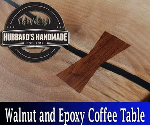 Black Walnut Slab and Black Epoxy Coffee Table (with Cocobolo Bowties)