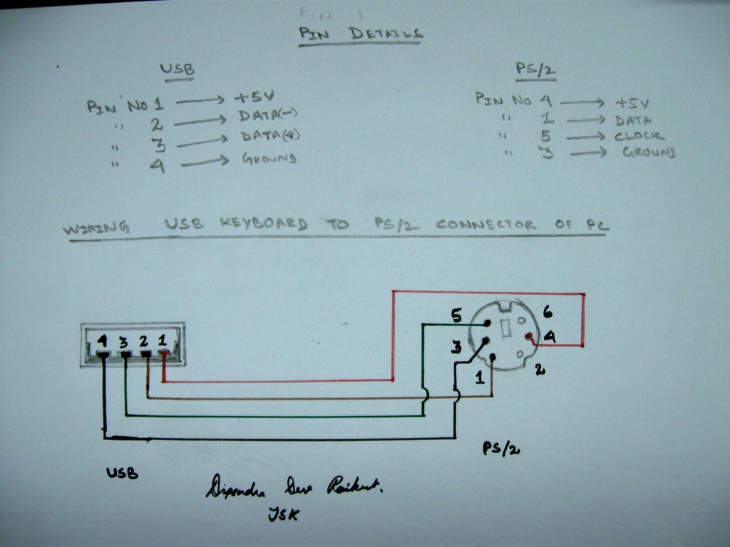 USB to PS/2 Convertor - Instructables | Ps2 To Usb Wire Diagram |  | Instructables