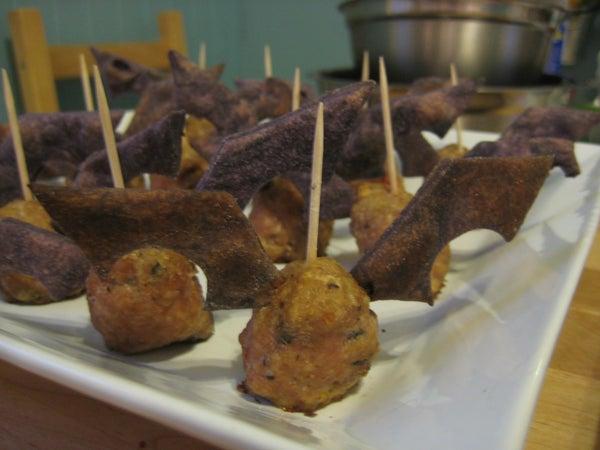 Halloween Meatball Fruit Bats