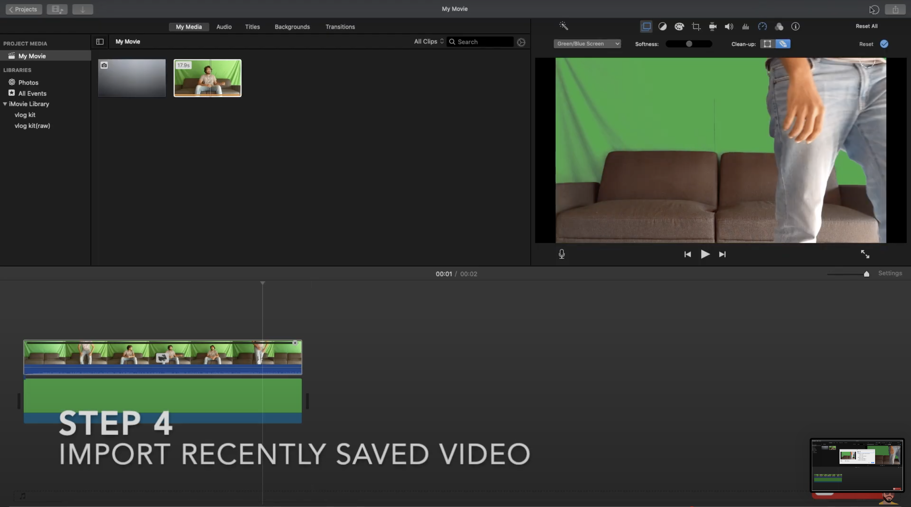 Import Recently Saved Video