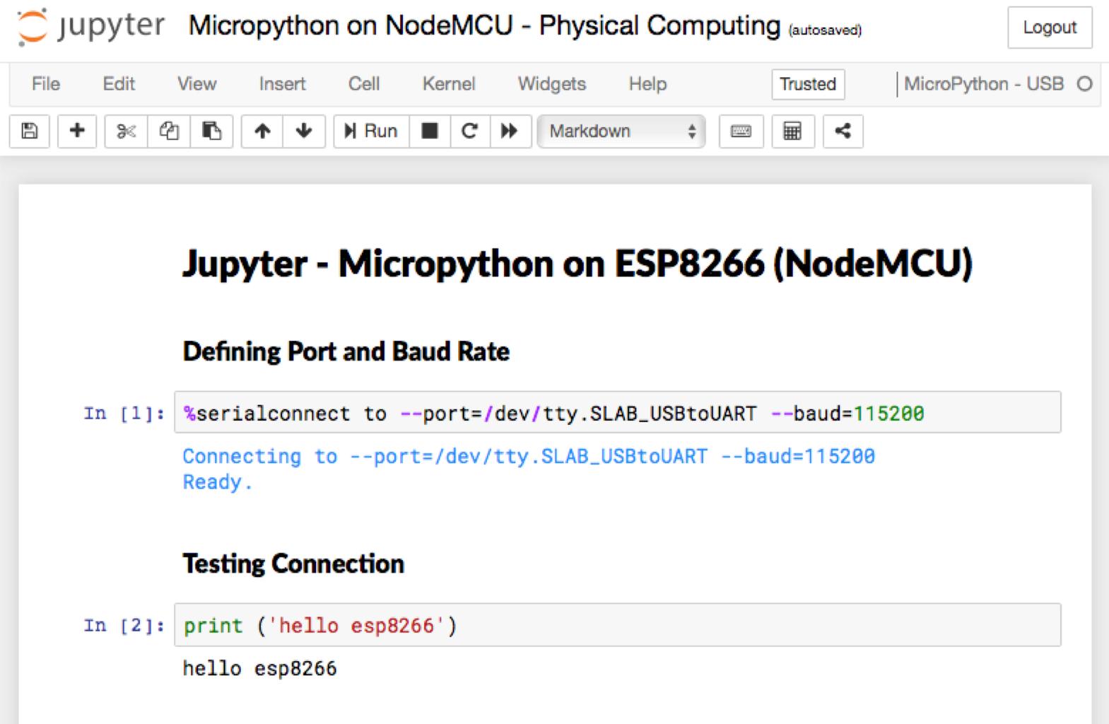 Installing Jupyter MicroPython Kernel