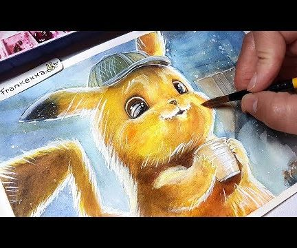 Detective Pikachu Drawing - Watercolor Painting Process