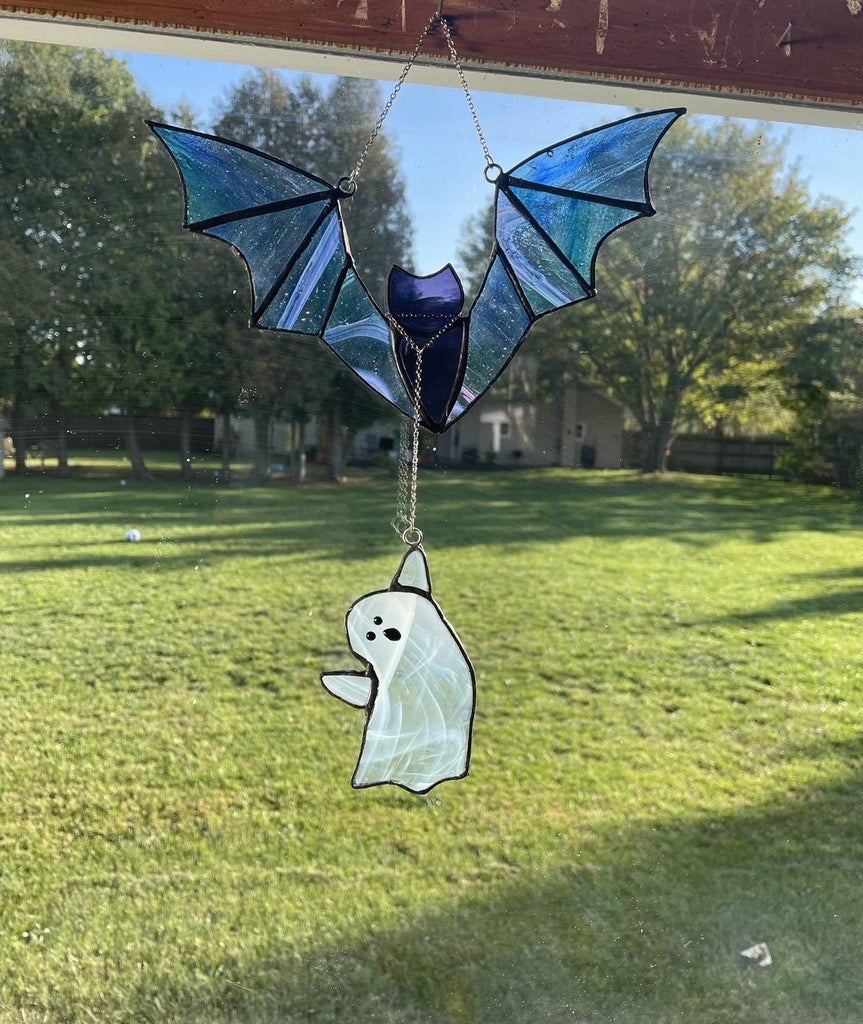 Ghost Tries to Walk a Bat - Stained Glass Suncatcher
