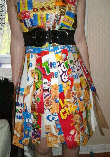 The recycled colorful dress
