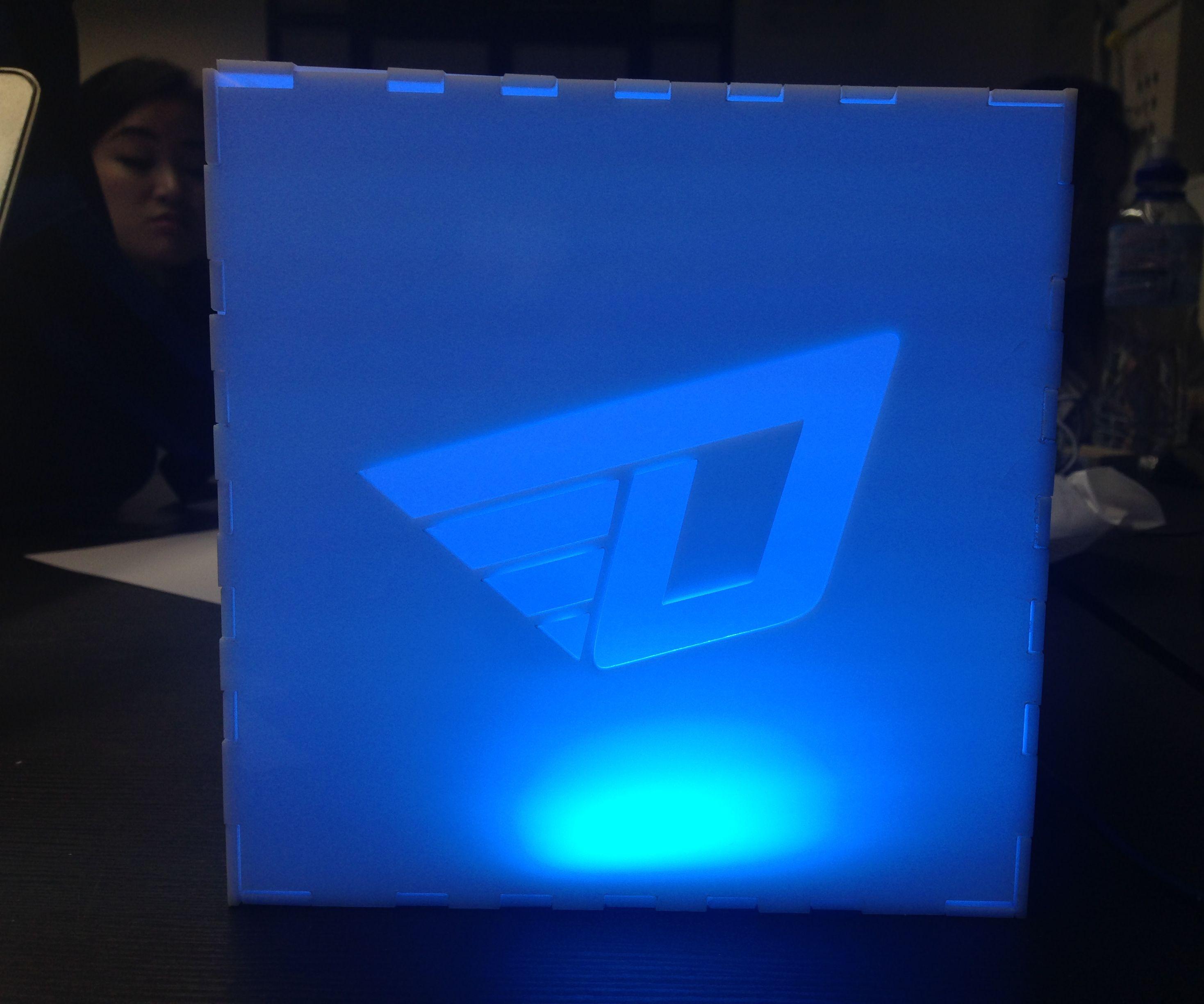 Interactive box with logo