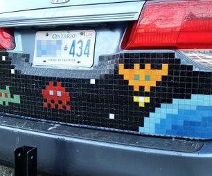 Mosaic Tile Pixel Art Car