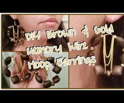 DIY Brown & Gold Memory Wire Hoop Earrings