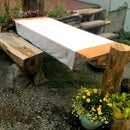 DIY Outdoor Wedding Reception Dining Tables on a Dime