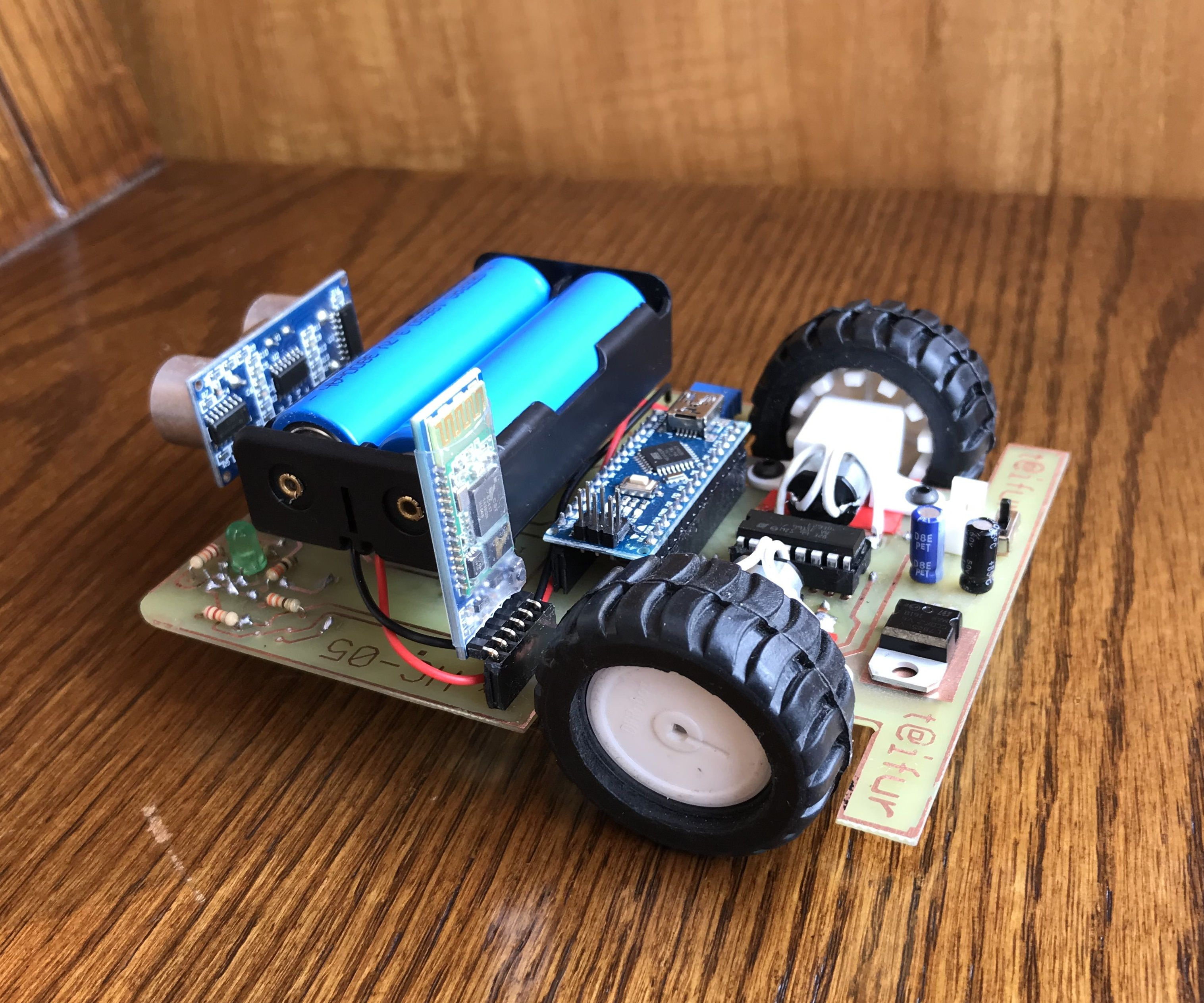 PCB BOT (Line Follower, Obstacle Avoiding, Remote Control)