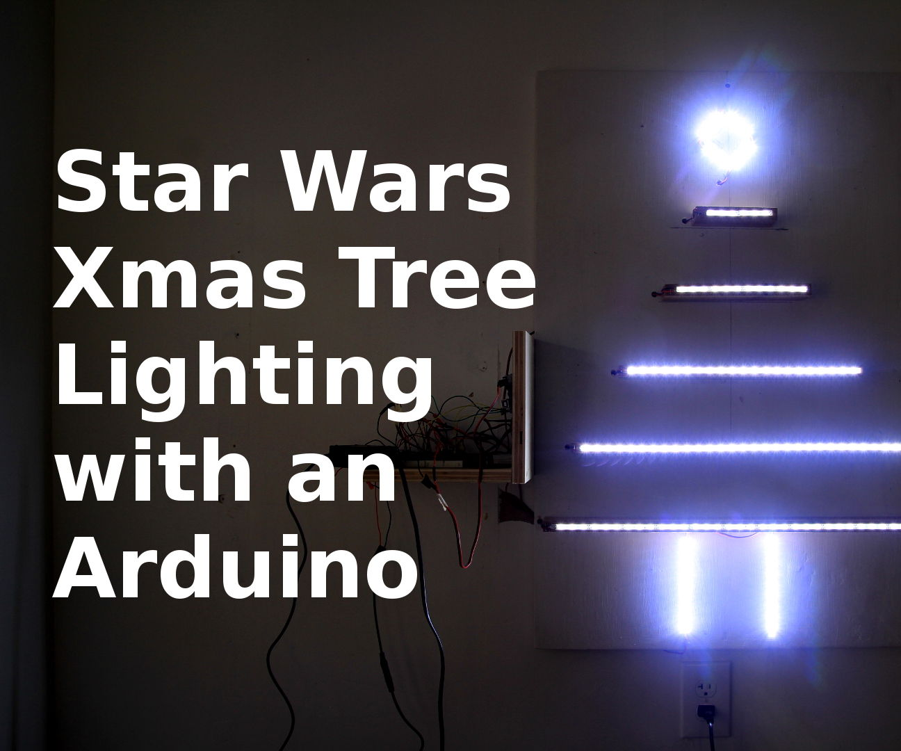 Arduino-Powered Wall Christmas Tree w/ Star Wars Theme LED Lights