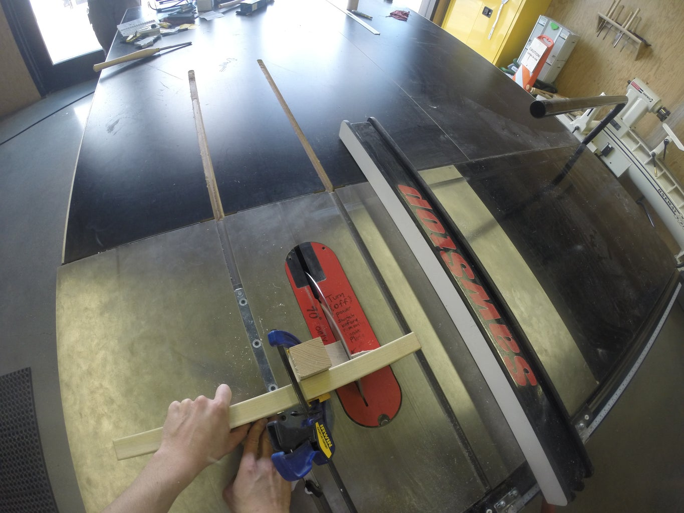 Carving the J-shaped Arm Cradle