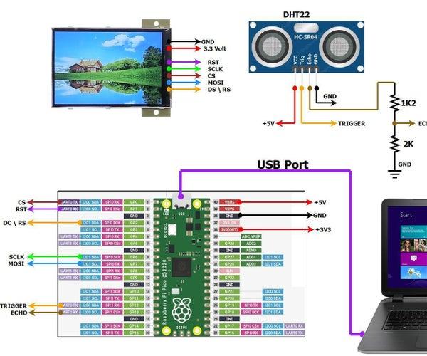 Raspberry Pi Pico -- Ultrasonic Distance Sensor (HC-SR04), HVGA 320x480 LCD-- Object Monitoring