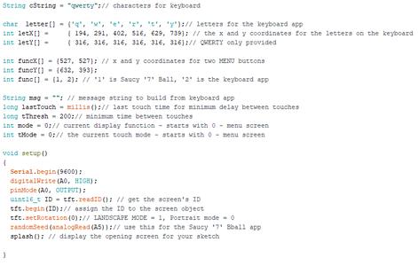 Header Code, Global Variables, Screen Setup