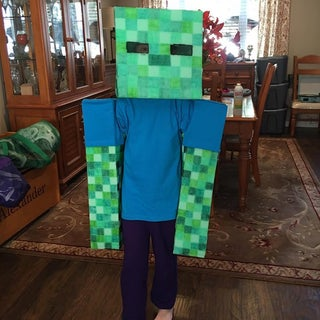 Easy No Sew Soft Minecraft Zombie Costume 14 Steps With Pictures Instructables