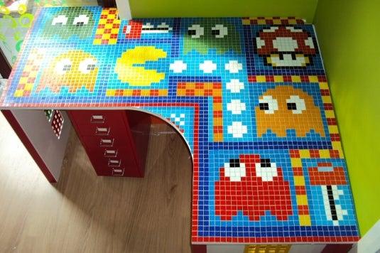 Pacman Tile Mosaic Desk